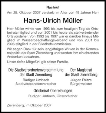 Traueranzeige von Hans-Ulrich Müller von HNA