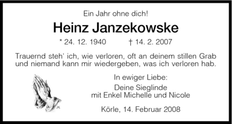 Anzeige von  Heinz Janzekowske
