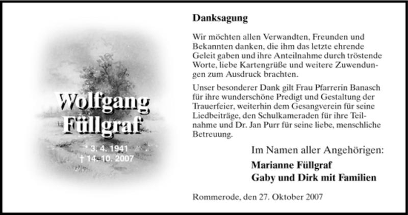 Traueranzeige für Wolfgang Füllgraf vom 27.10.2007 aus HNA