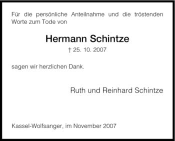 Traueranzeige von Hermann Schintze von HNA