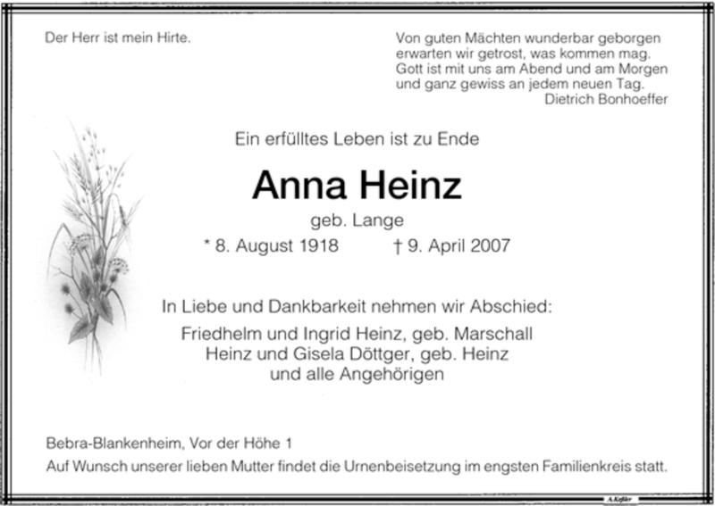 Traueranzeige für Anna Heinz vom 11.04.2007 aus HNA
