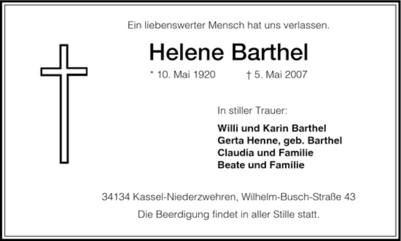 Traueranzeige für Helene Barthel vom 08.05.2007 aus HNA