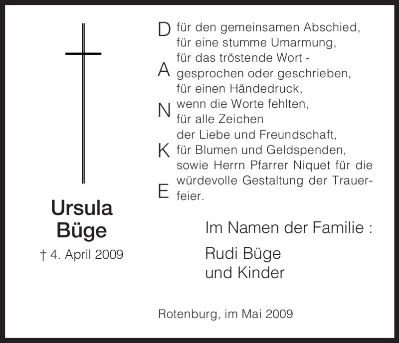 Traueranzeige für Ursula Büge vom 18.05.2009 aus HNA