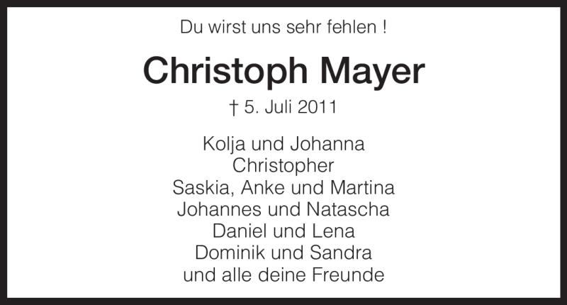 Traueranzeige für Christoph Mayer vom 07.07.2011 aus HNA