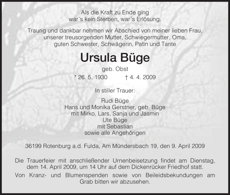 Traueranzeige für Ursula Büge vom 11.04.2009 aus HNA