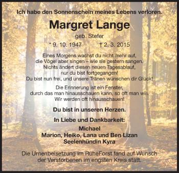 Zur Gedenkseite von Margret