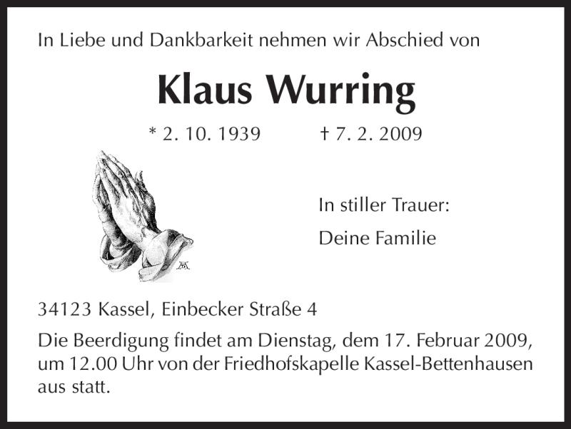 Anzeige von  Klaus Wurring