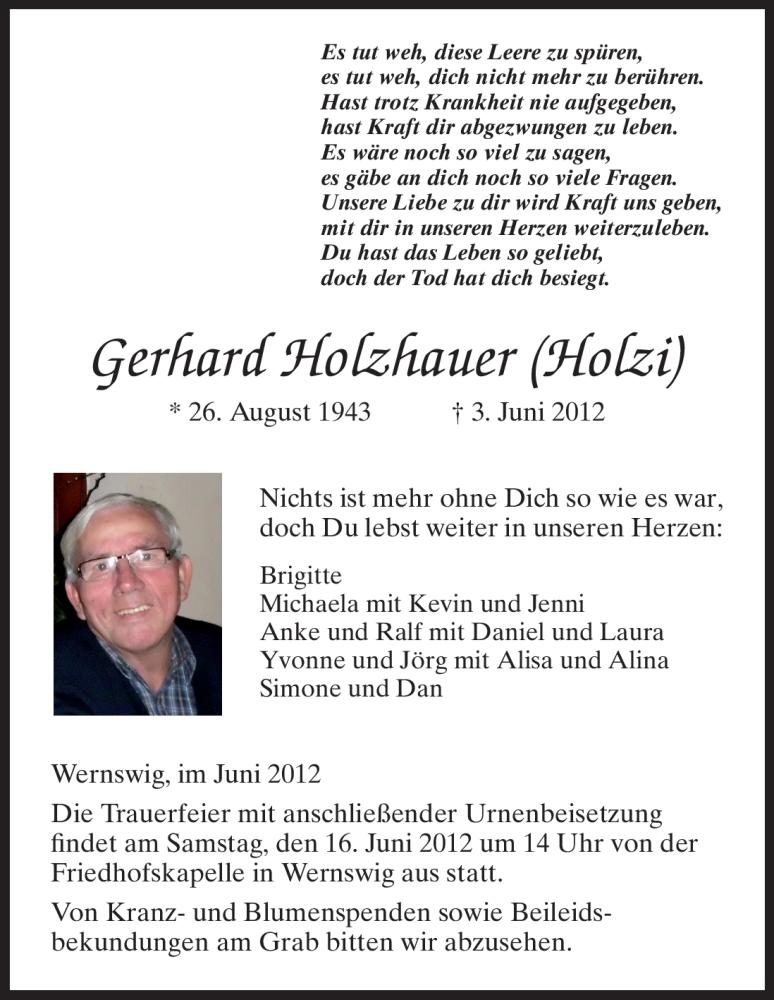 Anzeige von  Gerhard Holzhauer