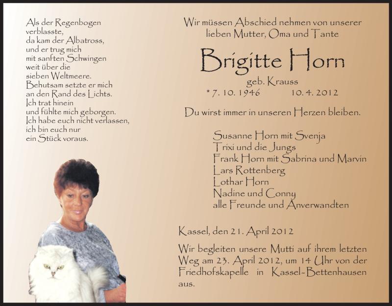 Anzeige von  Brigitte Horn