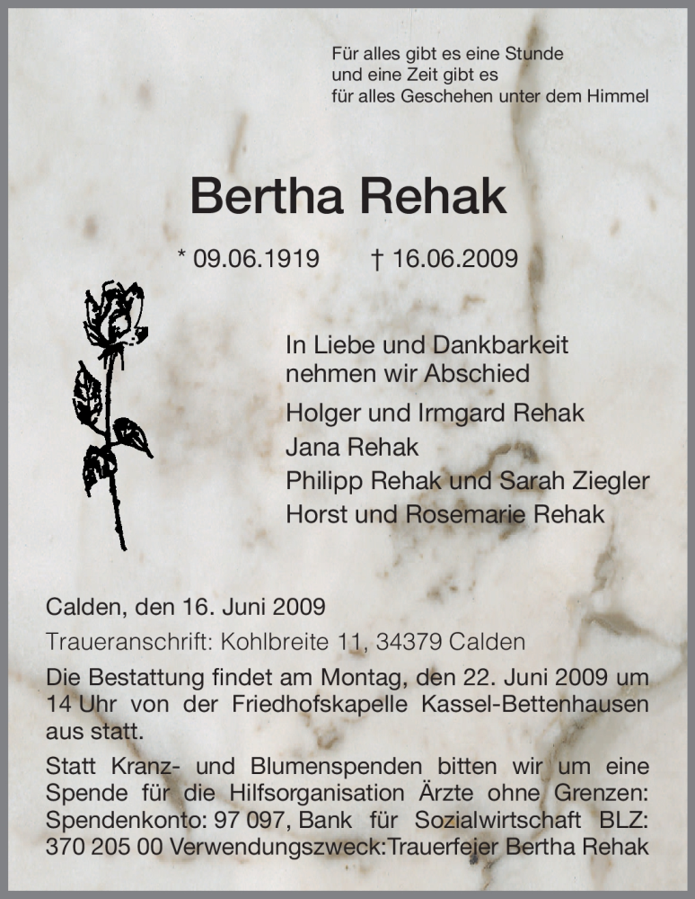 Anzeige von  Bertha Rehak