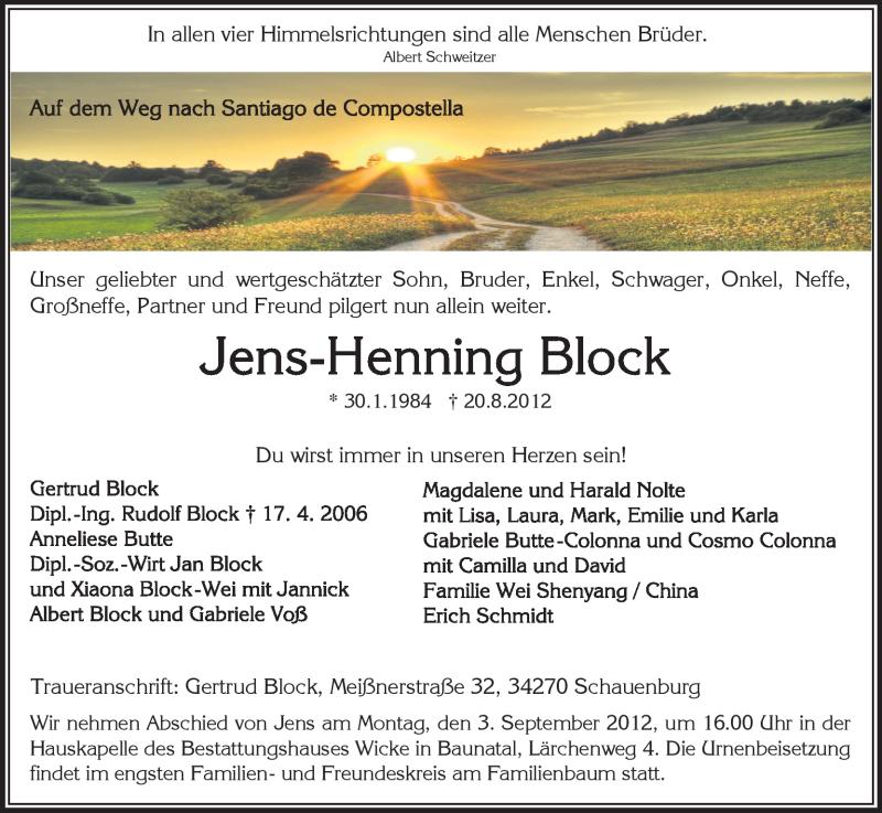 Traueranzeige für Jens-Henning Block vom 31.08.2012 aus HNA