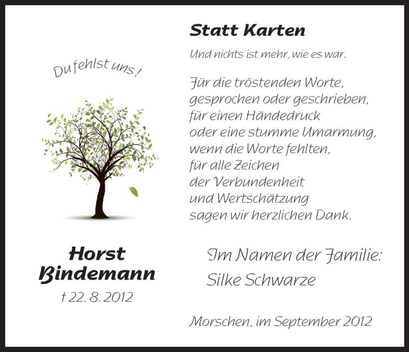 Anzeige von  Horst Bindemann