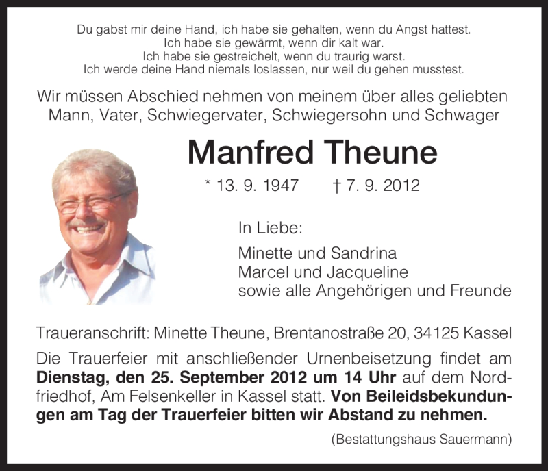 Anzeige von  Manfred Theune