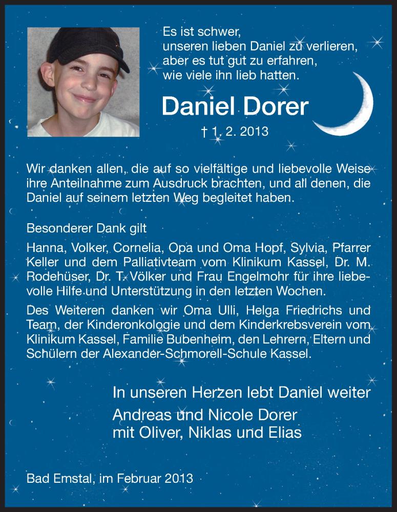 Anzeige von  Daniel Dorer