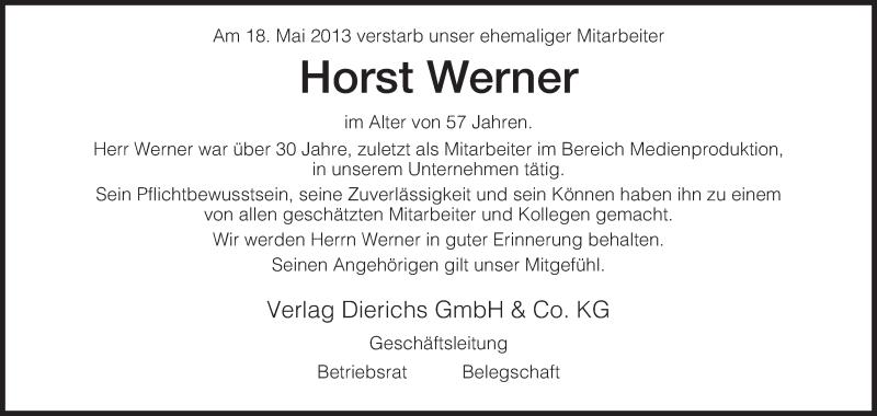 Traueranzeige für Horst Werner vom 23.05.2013 aus HNA