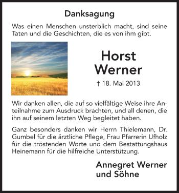 Traueranzeige für Horst Werner vom 22.06.2013 aus HNA