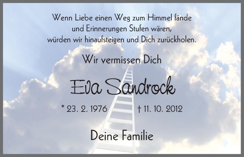 Traueranzeige für Eva Sandrock vom 11.10.2013 aus HNA
