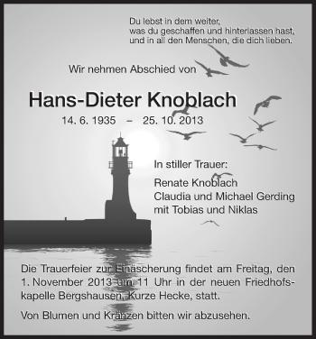 Traueranzeige von Hans-Dieter Knoblach von HNA