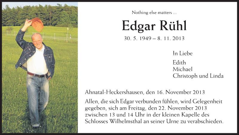 Anzeige von  Edgar Rühl