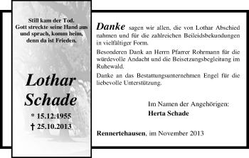 Traueranzeige von Lothar Schade von HNA