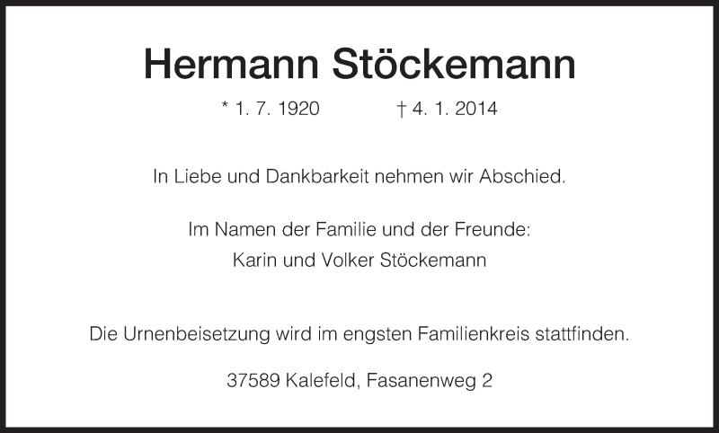 Anzeige von  Hermann Stöckemann
