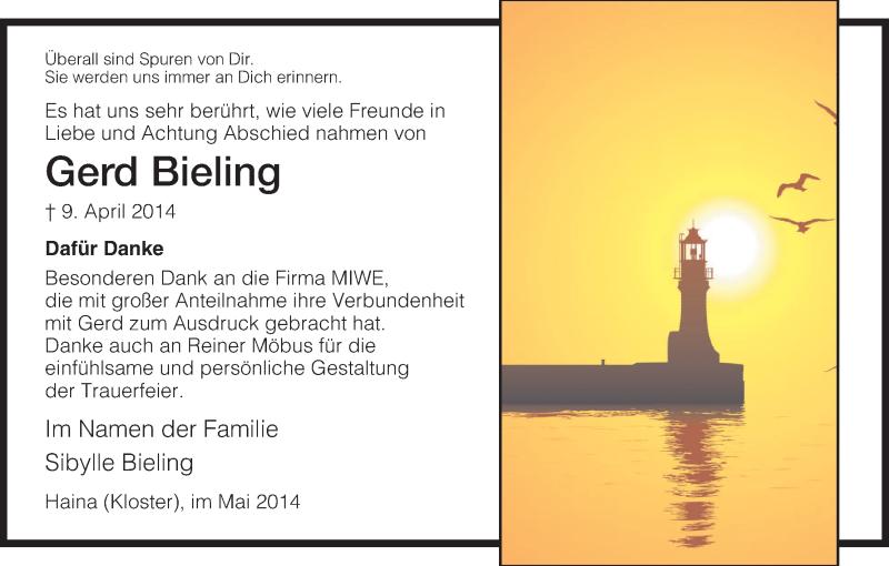 Traueranzeige für Gerd Bieling vom 17.05.2014 aus HNA