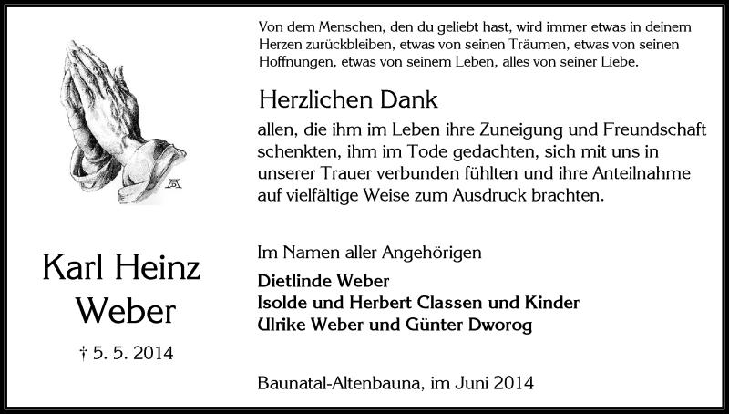 Traueranzeige für Karl Heinz Weber vom 07.06.2014 aus HNA