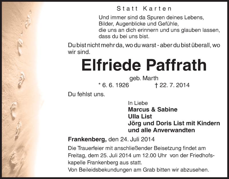 Anzeige von  Elfriede Paffrath
