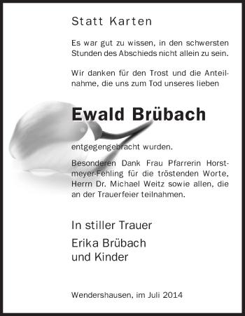 Traueranzeige von Ewald Brübach von HNA