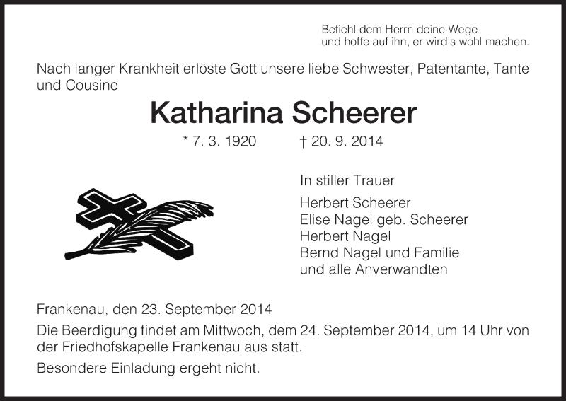 Traueranzeige für Katharina Scheerer vom 23.09.2014 aus HNA