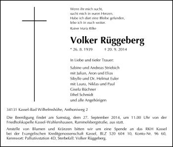 Traueranzeige von Volker Rüggeberg von HNA