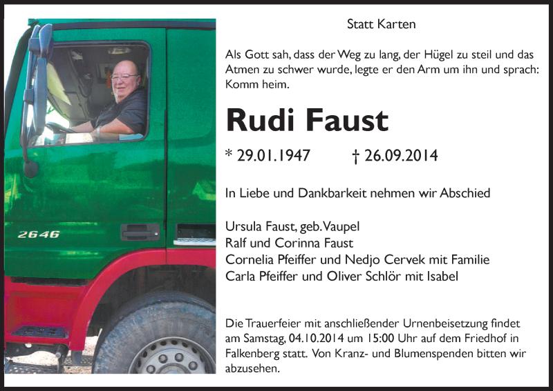 Anzeige von  Rudi Faust
