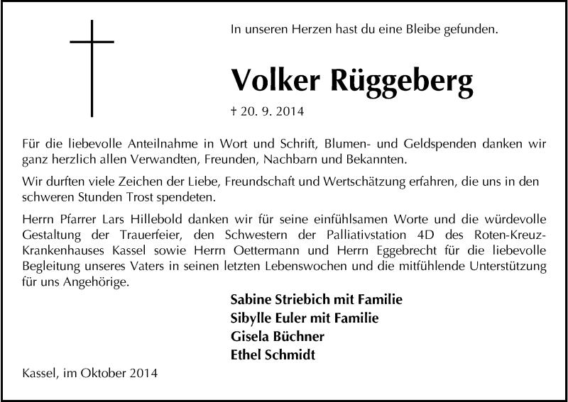Traueranzeige für Volker Rüggeberg vom 11.10.2014 aus HNA