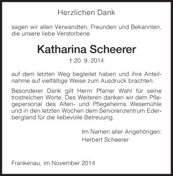 Traueranzeige von Katharina Scheerer von HNA