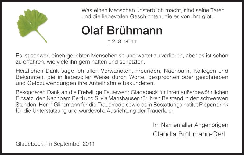 Traueranzeige für Olaf Brühmann vom 03.09.2011 aus HNA