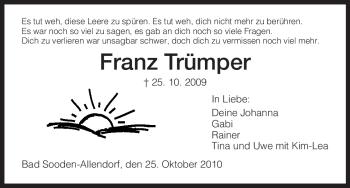 Traueranzeige von Franz Trümper von HNA