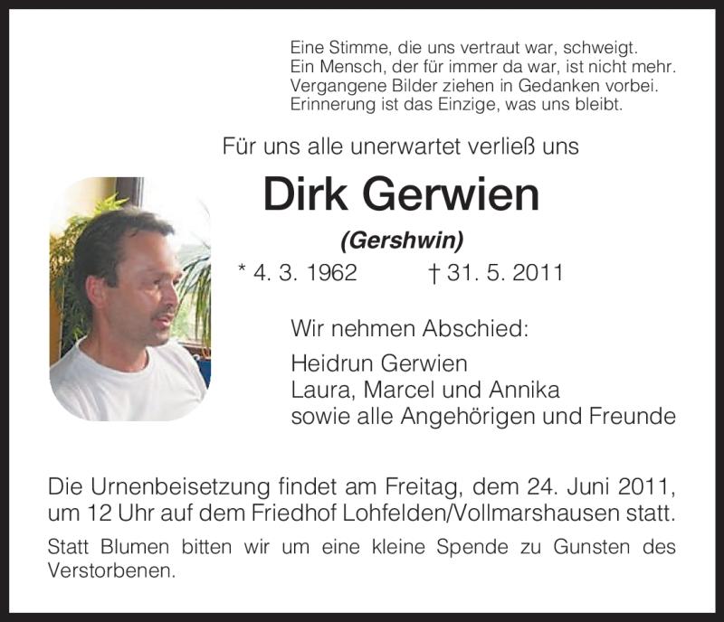 Anzeige von  Dirk Gerwien