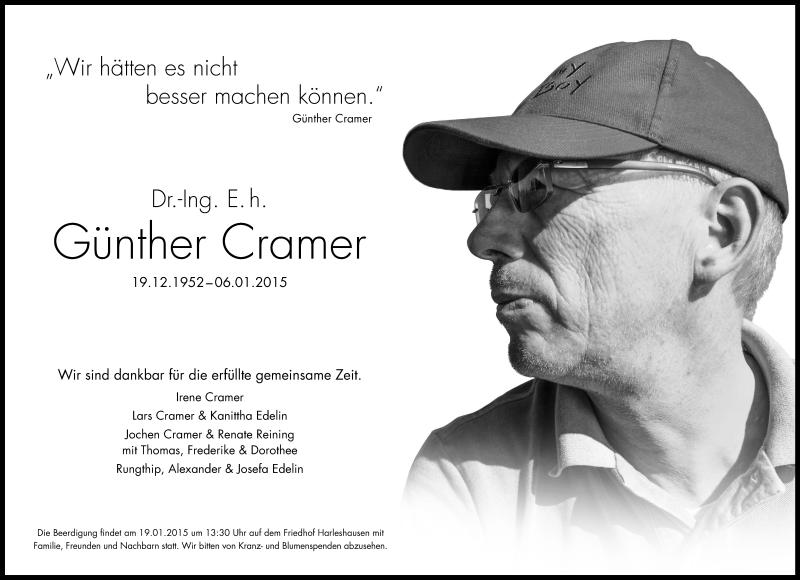 Traueranzeige für Günther Cramer vom 14.01.2015 aus HNA