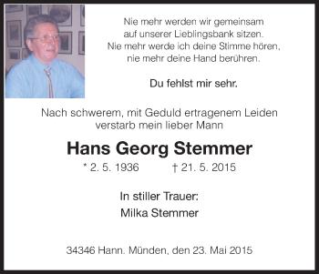 Zur Gedenkseite von Hans Georg