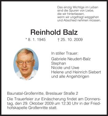 Traueranzeige von Reinhold Balz von HNA