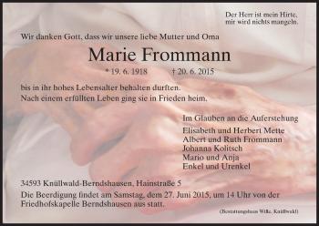 Traueranzeige von Marie Frommann von HNA