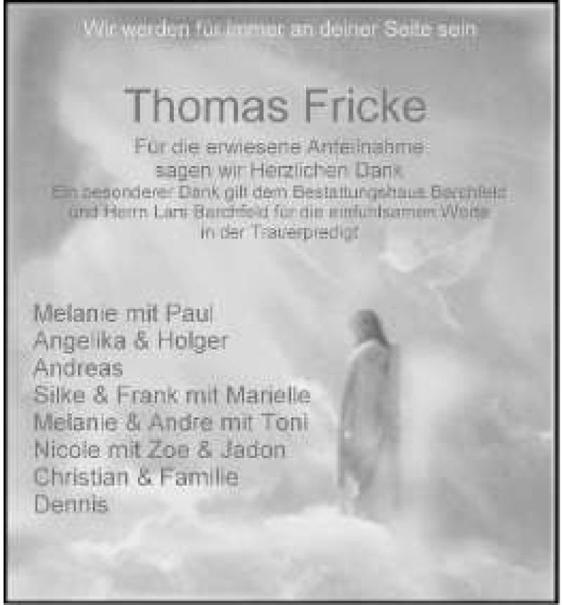 Anzeige von  Thomas Fricke
