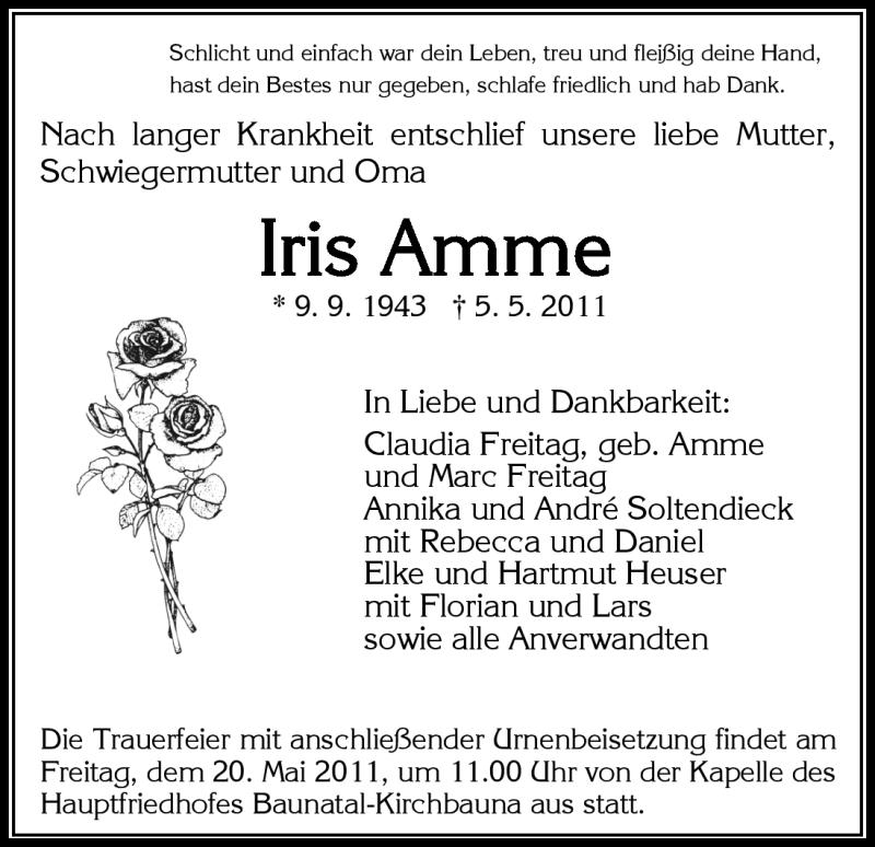 Traueranzeige für Iris Amme vom 18.05.2011 aus HNA