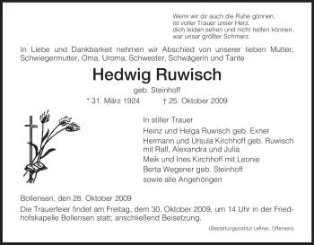 Traueranzeige von Hedwig Ruwisch von HNA