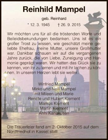 Zur Gedenkseite von Reinhild