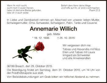 Traueranzeige von Annemarie Willich von HNA