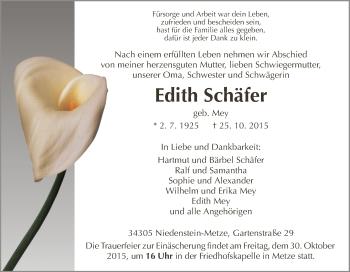 Traueranzeige von Edith Schäfer von HNA