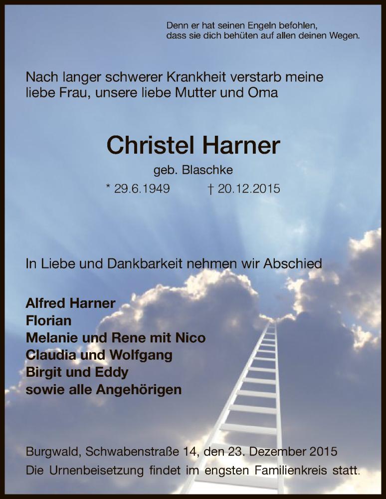 Anzeige von  Christel Harner