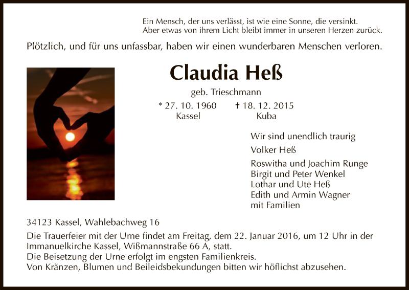 Traueranzeigen Von Claudia Hess Trauer Hna De