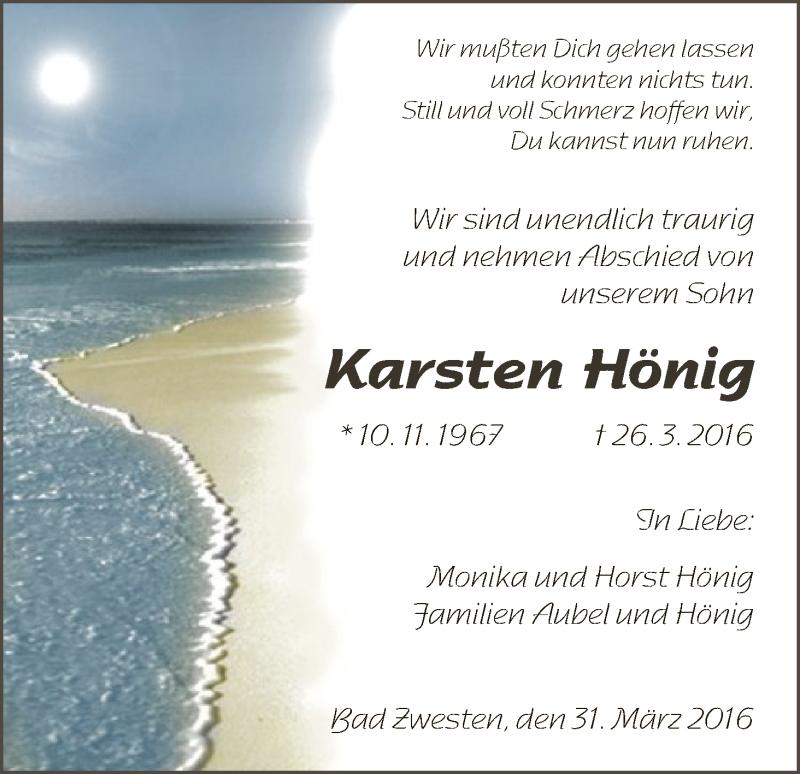 Traueranzeige für Karsten Hönig vom 31.03.2016 aus HNA